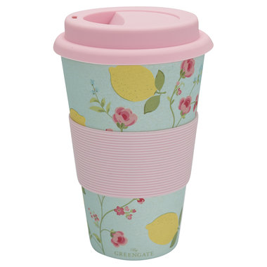 GreenGate Bamboo Travel mug Limona Pale Blue H:9,5cm