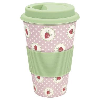 GreenGate Bamboo Travel mug Strawberry Pale Pink H:9,5cm