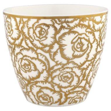 GreenGate Stoneware Latte cup Blossom gold  H:9cm