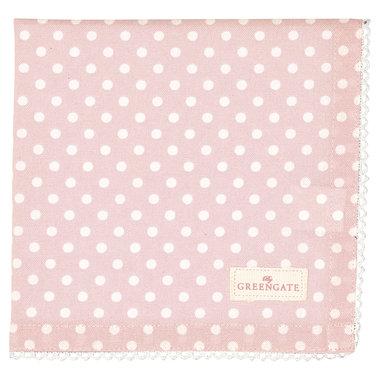 GreenGate Cotton Napkin with lace Spot Pale Pink 40x40cm