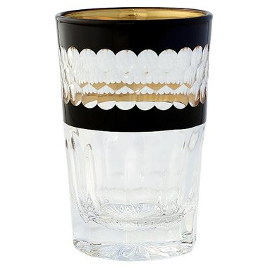 Gate Noir by GreenGate Tea Glass handcut black w/gold GN H:10cm