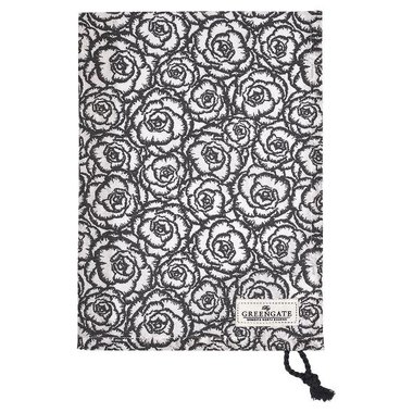 Gate Noir by GreenGate Cotton Tea towel Blossom grey w/rope string GN 50x70cm