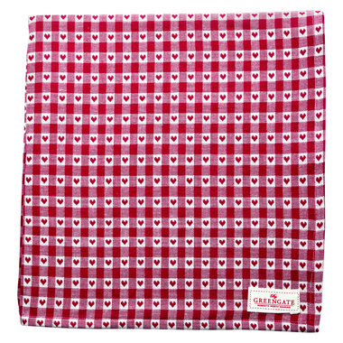 GreenGate Tafelkleed / Tablecloth Heart petit red 145x250cm