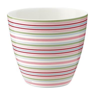 GreenGate Mokje / Latte cup Silvia stripe white H: 9cm