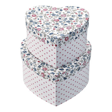 GreenGate Opbergdoos / Storage box heart Ruby petit white set of 2