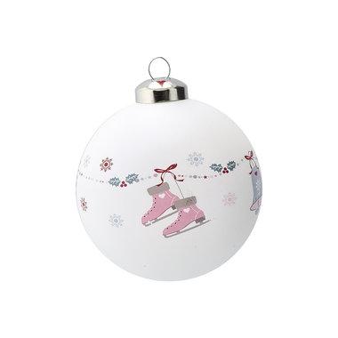 GreenGate Kerstbal / Christmas Ball glass Jingle bell white D:8cm