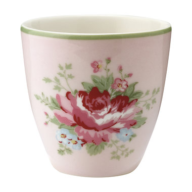 GreenGate Stoneware Espresso Mokje / Mini latte cup Aurelia pale pink H: 6,5cm