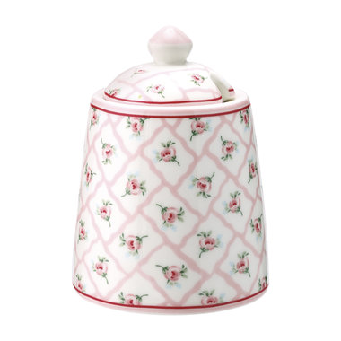 GreenGate Stoneware Suikerpot / Sugar pot Rita pale pink H:10cm