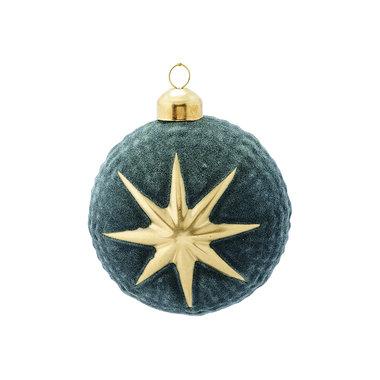 GreenGate Kerstbal / Christmas Ball glass Adele green hanging D:8cm