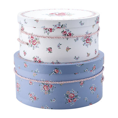 GreenGate Opbergdoos / Storage box round Nicoline white set of 2 XL