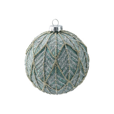 GreenGate Kerstbal / Christmas Ball glass Isobel blue hanging large D:9cm