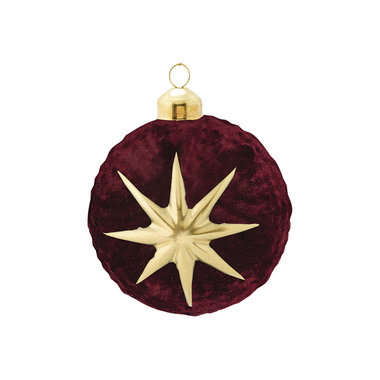 GreenGate Kerstbal / Christmas Ball glass Adele bordeaux hanging D:8cm