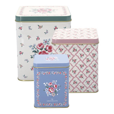 GreenGate Voorraadblik / Square box Nicoline white set of 3