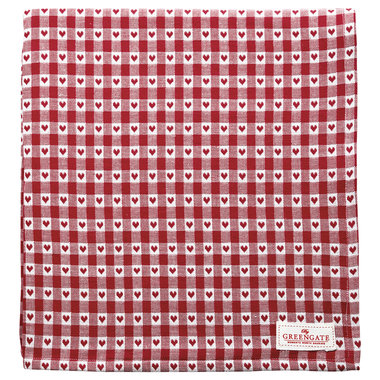 GreenGate Tafelkleed / Tablecloth Heart petit red 150x150cm