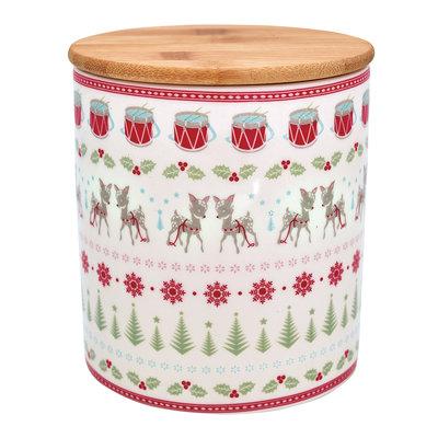 GreenGate Stoneware Storage Jar With Wooden Lid Bambi White H: 12,7 cm