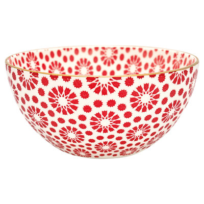 GreenGate Bowl Kelly red w/gold Medium D: 15,5cm