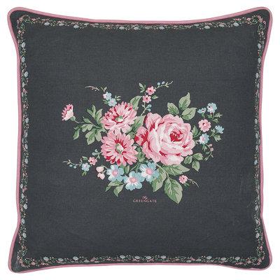 GreenGate Cotton Cushion Cover Marley dark grey pieceprinted 50x50cm