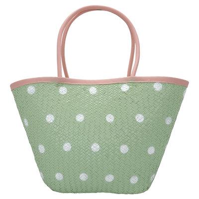 GreenGate Basket bag Spot pale green