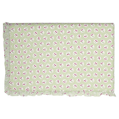 GreenGate Quilted Bed cover Cherry berry p. green w/frill 100x140cm