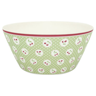 GreenGate Bamboo Bowl Cherry berry p.green large D: 25,5cm