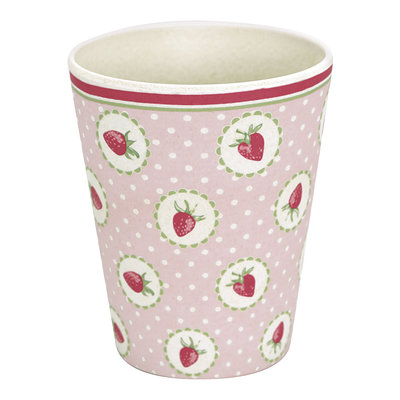 GreenGate Bamboo Cup Strawberry Pale Pink H: 9,5cm