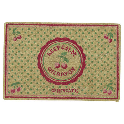 GreenGate Doormat Cherry berry p.green 40x60cm