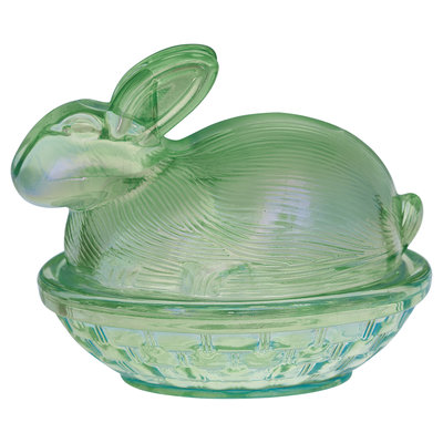 GreenGate Glass Jar rabbit green H:10cm