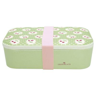 GreenGate Bamboo Lunch box Cherry berry p. green 6,5x12,8x19,6cm