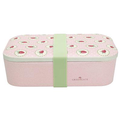 GreenGate Bamboo Lunch box Strawberry Pale Pink 6,5x12,8x19,6cm