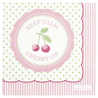 GreenGate Paper Napkin Cherry berry p.green small 20pc