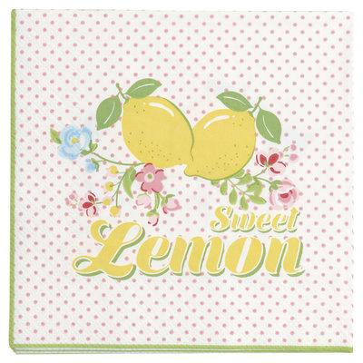 GreenGate Paper Napkin Limona white small 20pcs