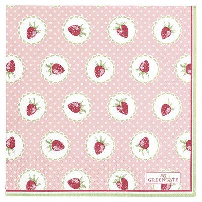 GreenGate Paper Napkin Strawberry Pale Pink small 20pcs