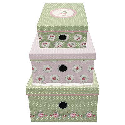 GreenGate Storage box Mary white set of 3 assorted