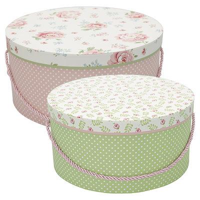 GreenGate Storage box round Meryl mega white set of 2 L