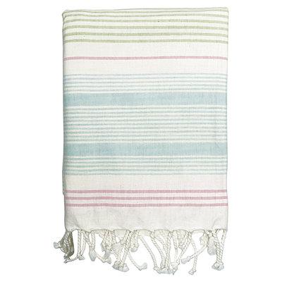 GreenGate Cotton Tablecloth Summer stripe multicolor w/frin 145x250