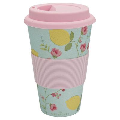 GreenGate Bamboo Travel mug Limona Pale Blue H:9,5cm