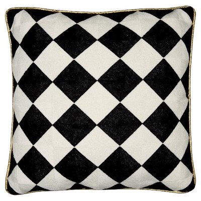 Gate Noir Cushion Check black & white emb.allover 45x45cm GN