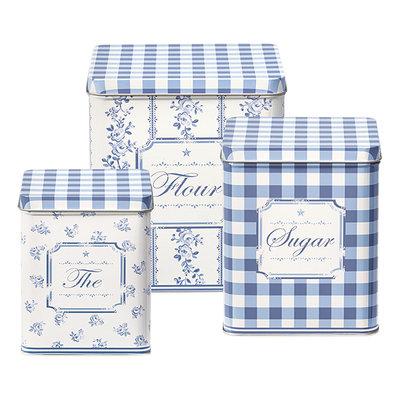 GreenGate Tin boxes square Audrey indigo set