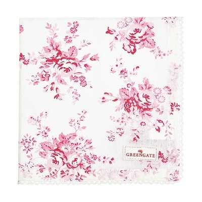 GreenGate Cotton Napkin With Lace Abelone Raspberry 40 x 40 cm