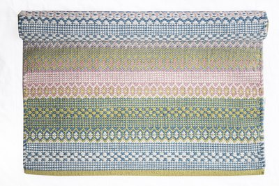 Isabelle Rose Katoenen Mat Light Blue, Pink & Green 60 x 90cm