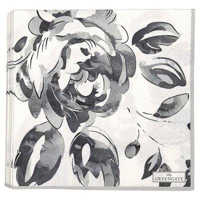 GreenGate Paper Napkin Amanda Dark Grey Large 20 Pieces