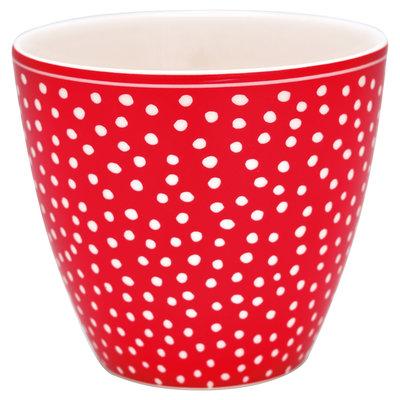 GreenGate Mokje / Latte Cup Dot Red H:9cm