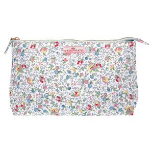 GreenGate Toilettas / Cosmetic bag Vivianne White Large 15x26cm