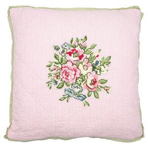 GreenGate Sierkussen / Cushion Franka Pale Pink w/embroidery 40x40cm